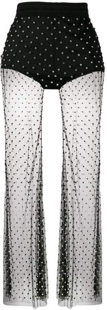 crystal embellished sheer trousers