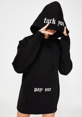 Poster Grl Graphic Fuck You Pay Me Oversize Pullover Hoodie Black | Dolls Kill