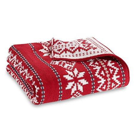 Fair Isle Knit Throw Blanket in Red   Bed Bath & Beyond