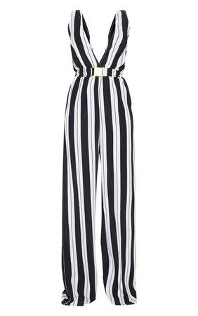 Petite Black Striped Buckle Belt Detail Jumpsuit | PrettyLittleThing USA
