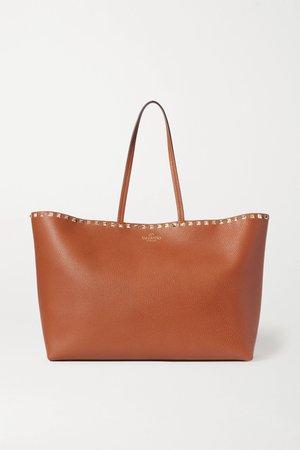 Brown Valentino Garavani Rockstud textured-leather tote | Valentino | NET-A-PORTER