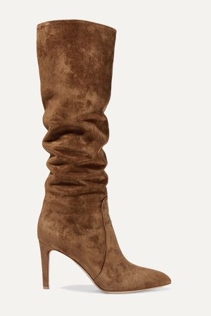 Brown 85 suede knee boots | Gianvito Rossi | NET-A-PORTER
