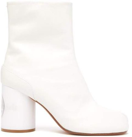 Tabi Holographic Heel Slit Toe Boots - Womens - White