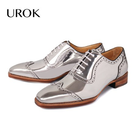 UROK-Oxford-Silver-Men-Dress-Shoes-Genuine-Leather-Goodyear-Suit-Flats-Lace-Up-Red-Bottom-Brogue.jpg (1000×1000)