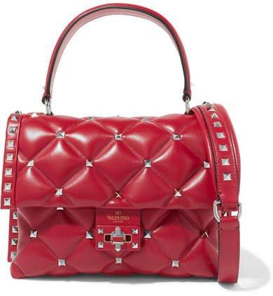 Garavani Candystud Quilted Leather Shoulder Bag - Red