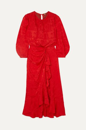 Cuentos Y Relatos Ruffled Satin-jacquard Midi Dress - Red