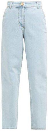 High Rise Straight Leg Jeans - Womens - Denim