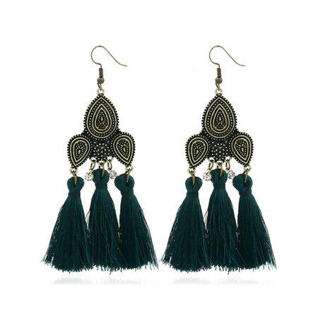 dark green tassel earrings - Google Search