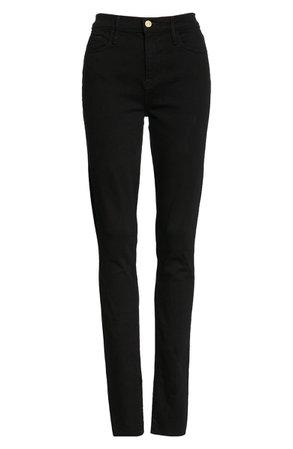 FRAME Le Skinny de Jeanne Side Slit Skinny Jeans black