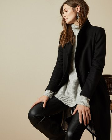 Long belted wrap coat - Black   Jackets & Coats   Ted Baker