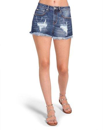 Raw Hem Denim Shorts Blue