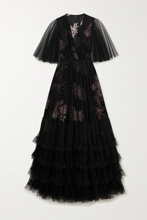Black Layered tiered tulle and silk gown | Giambattista Valli | NET-A-PORTER