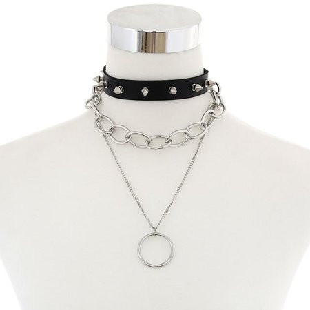 Gothic Spikes Chains O-Ring Multilayer Choker Necklace – ROCK 'N DOLL