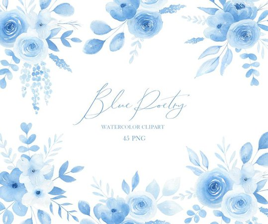 Blue watercolor floral clipart Light blue roses clipart | Etsy
