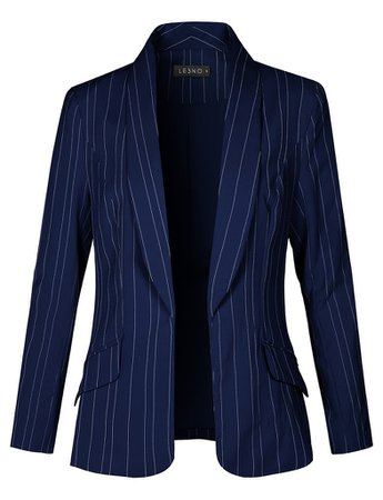 LE3NO Womens Fully Lined Open Front Striped Blazer Jacket | LE3NO blue