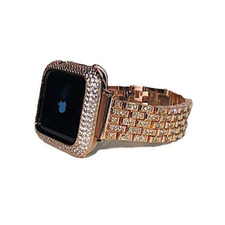 Gold Apple Watch Band Women 38mm 40mm 42mm 44mm Bracelet Rhinestone Crystal/Apple Watch Cover Bezel