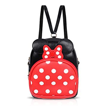 Finex Minnie Mouse Backpack Small 2-in-1 Crossbody bag Mini Backpack - Multifunction Makeup Travel Mini Handbag with Long Shoulder Adjustable Strap PU Leather for Women Girls