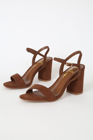 Cute Chunky Heel Sandals - Brown Suede High Heel Sandals