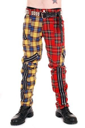 half and half red and yellow punk jeans