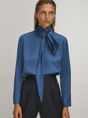 Blouse with tied neckline - Women - Massimo Dutti