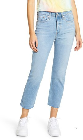 Wedgie High Waist Raw Hem Straight Leg Jeans