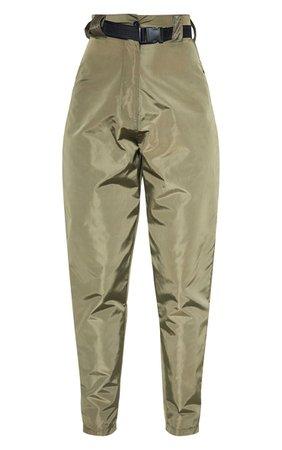 Khaki Shell Belted Cigarette Trouser | PrettyLittleThing
