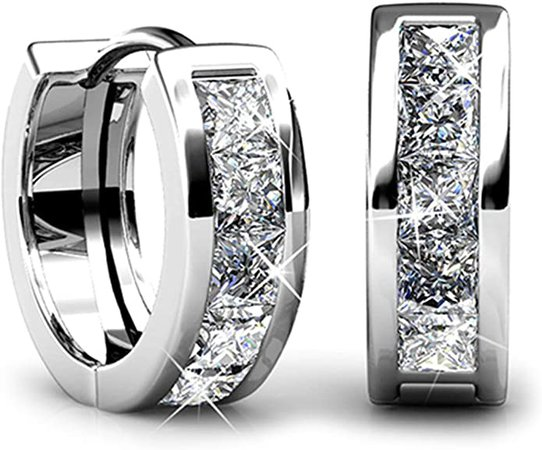 Amazon.com: Jade Marie AMAZE Small Silver Huggie Hoop Earrings, 18k White Gold Plated Hoops with Princess Cut Swarovski Crystals, Tiny Hoop Hypoallergenic Earrings for Women, Gifts for Girls, BRIDESMAID JEWELRY: Jewelry