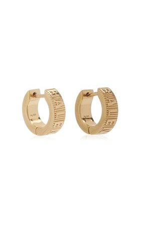 Force Striped Gold-Plated Mini Hoop Earrings By Balenciaga | Moda Operandi