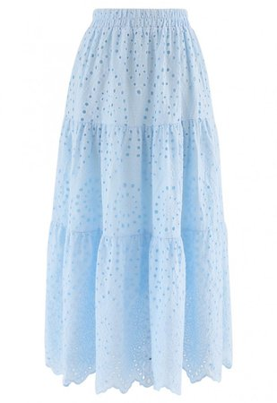 Frill Hem Broderie Cotton Midi Skirt in Baby Blue - NEW ARRIVALS - Retro, Indie and Unique Fashion