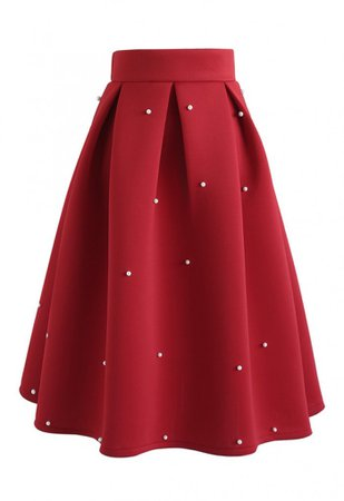 Pearls Bliss Airy Pleated Midi Skirt in Red - Skirt - BOTTOMS - Retro, Indie and Unique Fashion