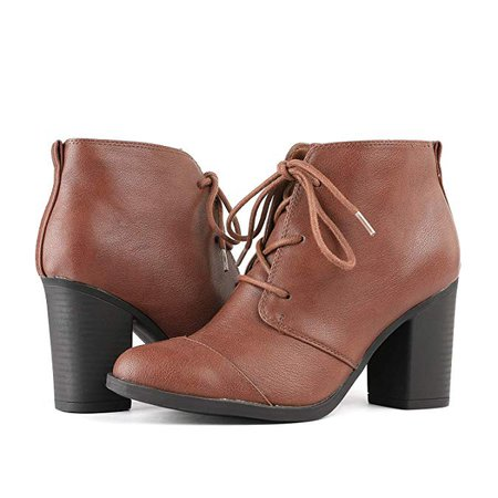 Amazon.com | TOETOS Women's Chicago-05 Brown Pu Leather Chunky Heel Ankle Boots Size 7 M US | Ankle & Bootie