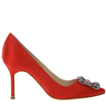 Manolo Blahnik Hangisi Red Satin Pumps