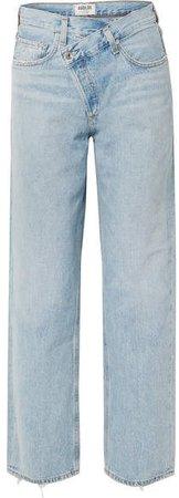 AGOLDE - Criss Cross Upsized Distressed High-rise Wide-leg Jeans - Light denim