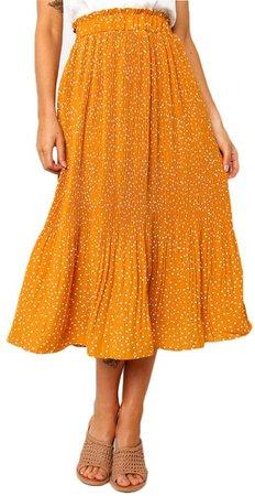 Exlura Womens High Waist Polka Dot Pleated Skirt Midi Swing Skirt with Pockets Coffee Small at Amazon Women's Clothing store