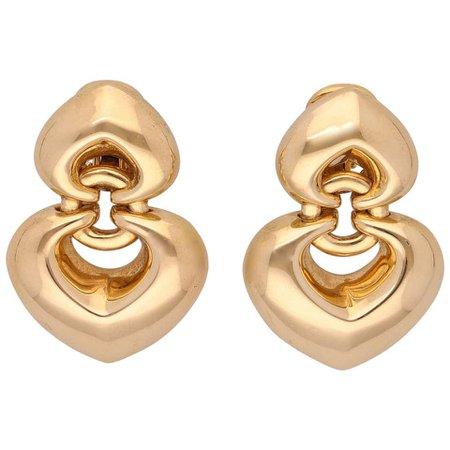 Bulgari 18 Karat Yellow Gold Double Heart Earrings For Sale at 1stdibs