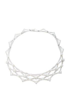 Giovane- 18K Gold Diamond Pearl Necklace