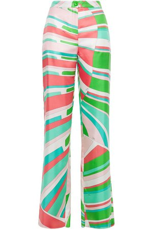 Bright green Printed silk-twill straight-leg pants | Sale up to 70% off | THE OUTNET | EMILIO PUCCI | THE OUTNET