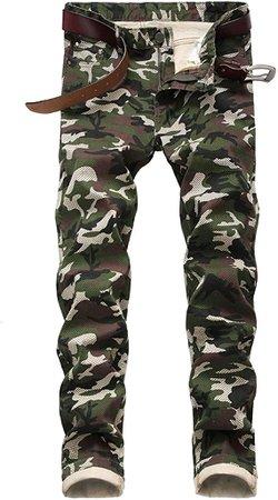 Enrica Men's Casual Printed Jeans Skinny Denim Pants (28, White&air) at Amazon Men's Clothing store