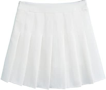 Hoerev Women Girls Short High Waist Pleated Skater Tennis School Skirt,M, White - 8: Amazon.co.uk: Clothing