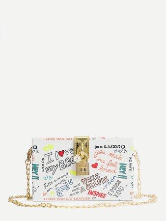 Slogan Print Chain Bag | ROMWE