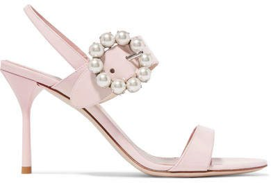 Faux Pearl-embellished Patent-leather Slingback Sandals - Pastel pink