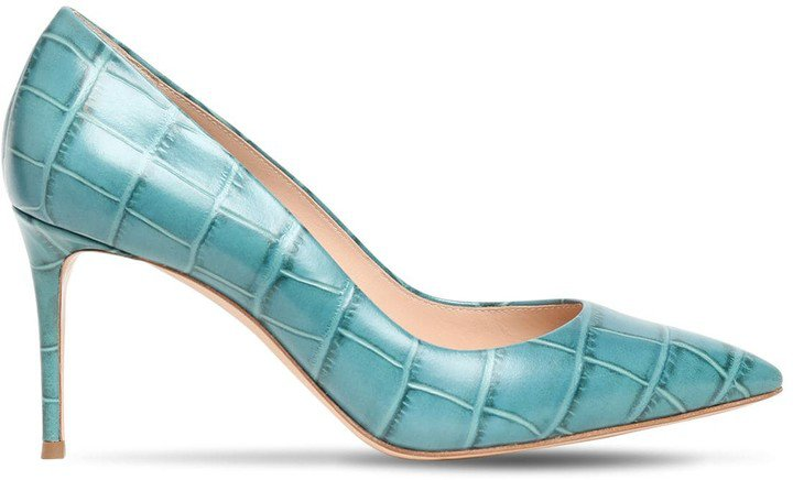 80mm Jolly Croc Embossed Leather Pumps