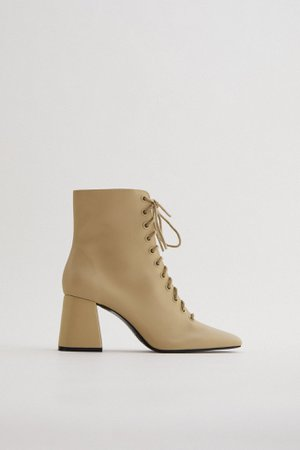 LACED LEATHER HIGH-HEEL ANKLE BOOTS TRF