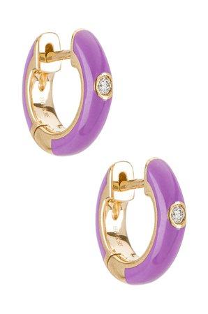 EF COLLECTION Single Diamond Enamel Huggie Earring in Lavender | REVOLVE