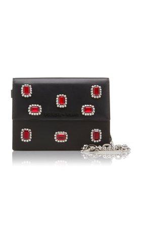 Crystal-Embellished Leather Shoulder Bag by Prada | Moda Operandi