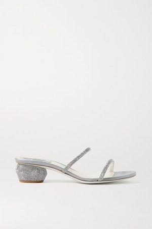 Crystal-embellished Leather Sandals - Silver