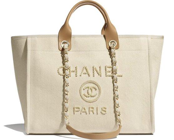 Shopping Bag, mixed fibers, imitation pearls & gold-tone metal, ecru & beige - CHANEL
