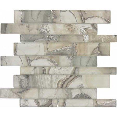 Snow Palace Grey Random Brick Glossy Glass Tile MGF621