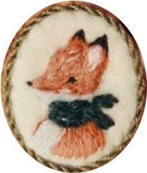 embroidered fox brooch
