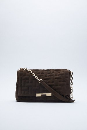 CHAIN TRIM QUILTED LEATHER SHOULDER BAG | ZARA United States